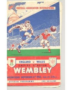 1952 England v Wales official programme 12/11/1952, half price