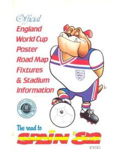 1982 World Cup Spain - Official England World Cup Poster Road Map Fixtures & Stadium Information