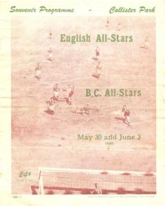 1950 B.C. All Stars v English All Stars official programme 30th May and 3rd June 1950 in Vancouver