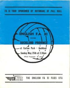 Auckland Province, New Zealand v English FA XI official programme