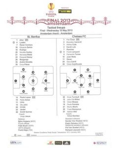 2013 Europa League Final - Chelsea v Benfica official teamsheet 15/05/2013