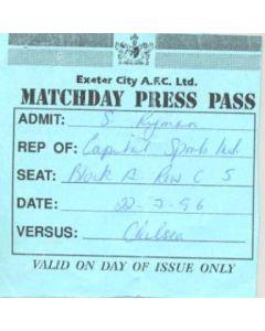 Exeter v Chelsea press pass 22/07/1996