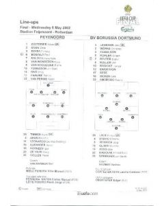 2002 UEFA Cup Final Official Teamsheet Line-Ups Feyenoord v Borussia Dortmund 08/05/2002