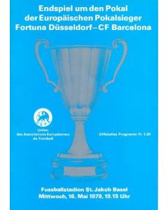 1979 Cup Winners Cup Final Official Programme Fortuna Dusseldorf v Barcelona