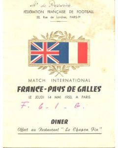 France v Wales fully signed menu 14/05/1953
