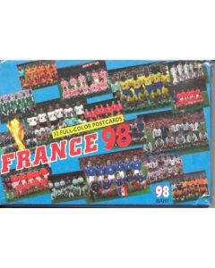 1998 World Cup Complete Set in Folder of 32 Unofficial Postcards Showing Every Team Group