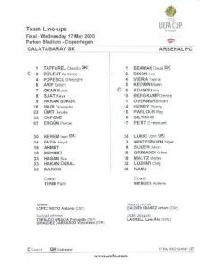 2000 Uefa Cup Final Official Teamsheet Galatasaray v Arsenal 17/05/2000 U