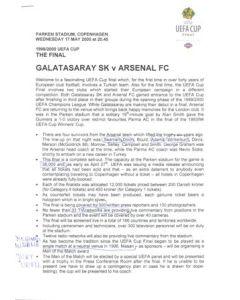 Galatasaray v Arsenal press pack 17/05/2000 UEFA Cup Final