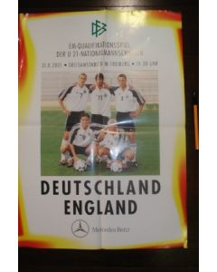 Germany v England U21 poster 31/08/2001 European Cup Qualifier