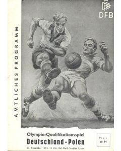 1959 Germany v Poland official programme 24/11/1959 Olympics Qualifier
