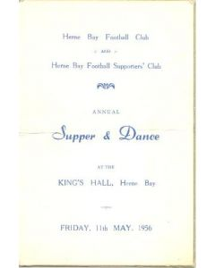 Herne Bay Football Club and Supporters' Club Annual Supper & Dance menu 11/05/1956