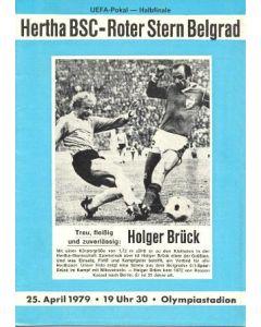 1979 Hertha Berlin v Red Star, Belgrade official programme 25/04/1979 UEFA Cup Semi-Final