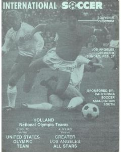 1977 Holland National Olympic Teams - B Team v United States Olympic Team and A Team v Greater Los Angeles All Stars official programme 27/02/1977