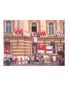1998 World Cup in France England Touring Tribes Arrive at Toulouse postcard