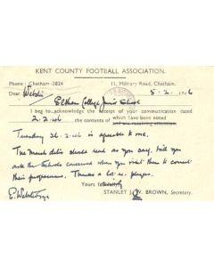 Kent County Football Association written on postcard of 05/02/1946