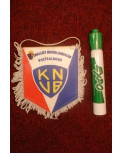Koninklijke Netherlands Football Association small Pennant with a small badge once property of the football referee Neil Midgley
