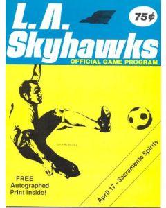 1976 Los Angeles Skyhawks v Sacramento Spirits official programme 17/04/1976