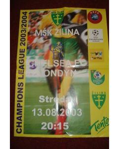 2003-2004 Champions League Zilina v Chelsea poster 13/08/2003