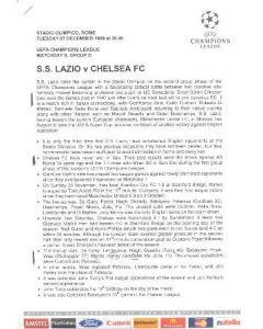 Lazio v Chelsea press pack 07/12/1999