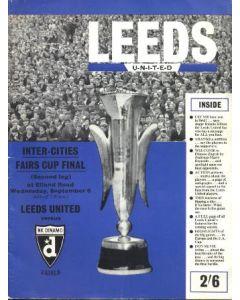 1967 UEFA Fairs Cup Final Official Celebration Brochure Leeds United v Dynamo Zagreb 06/09/1967