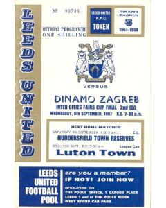 1967 UEFA Fairs Cup Final Official Programme Leeds United v Dynamo Zagreb 06/09/1967
