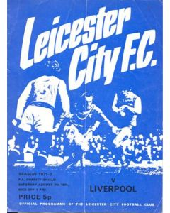 1971 Charity Shield Leicester City v Liverpool official programme 07/08/1971