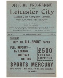 1933 Leicester City v Tottenham Hotspur Official Programme