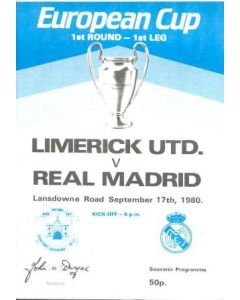 1980 Limerick v Real Madrid official programme 17/09/1980 European Cup