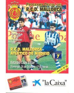 1998 Majorca v Atletico Madrid official programme 25/10/1998, Spanish produced, in Spanish