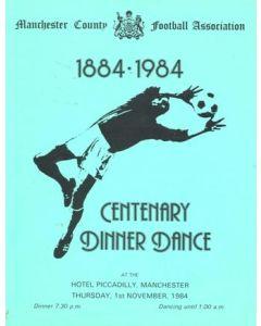 Manchester County Football Association Centenary 1884-1984 Dinner Dance menu