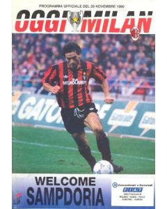 1990 Super Cup Final Official Programme AC Milan v Sampdoria 29/11/1990