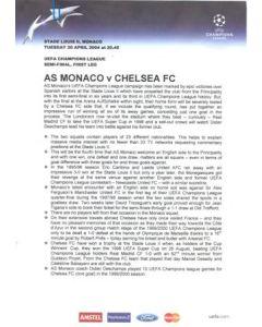 Monaco v Chelsea press pack without folder 20/04/2004 Champions League Semi-Final 1st Leg