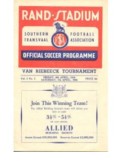 1956 South Africa - Natal v The Rest official programme 06/04/1956 and Western Province v Southern Transvaal