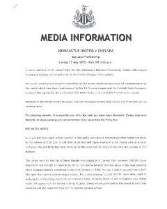 Newcastle v Chelsea press pack 15/05/2005