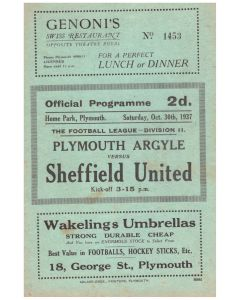 1937 football programme plymouth v sheffield united