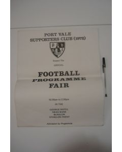 Annual Football Programme Fair at Port Vale 1972 poster