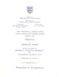 1978 F.A. Cup Final programme of arrangements Royal Box
