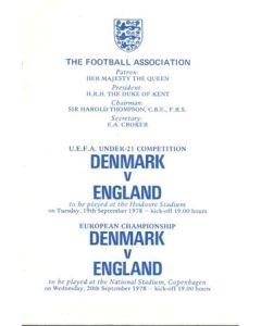 1978 Denmark v England programme of arrangements Royal Box