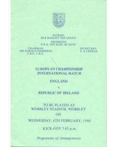 1980 England v Republic of Ireland programme of arrangements Royal Box