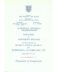 1979 England v Northern Ireland programme of arrangements Royal Box