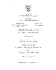 1980 England v Northern Ireland programme of arrangements Royal Box