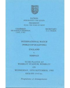 1980 England v Norway programme of arrangements Royal Box