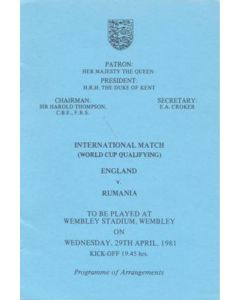 1981 England v Rumania programme of arrangements Royal Box