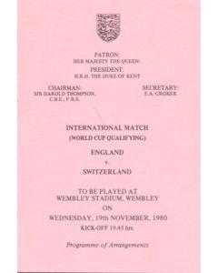 1980 England v Switzerland programme of arrangements Royal Box