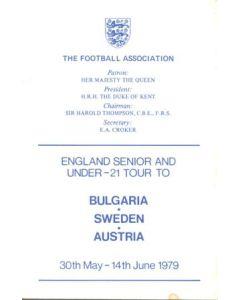 1979 England Senior & U21 Tour to Bulgaria, Sweden and Austria programme of arrangements Royal Box