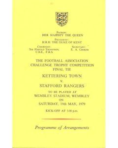 1979 Kettering Town v Stafford Rangers programme of arrangements Royal Box