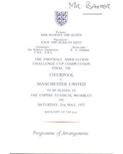 1977 FA Cup Final programme of arrangements Royal Box