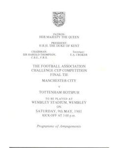 1981 FA Cup Final programme of arrangements Royal Box