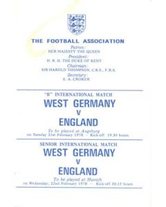 1978 West Germany v England programme of arrangements Royal Box, very good condition