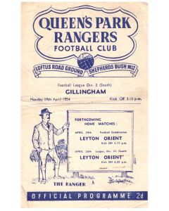 Queen's Park Rangers v Gillingham Football Programme in mint condition for the match played on the 19th April 1954.